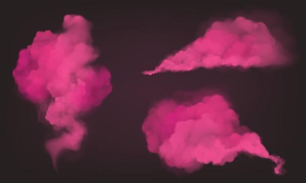 現実的なピンクの煙、魔法の塵または粉