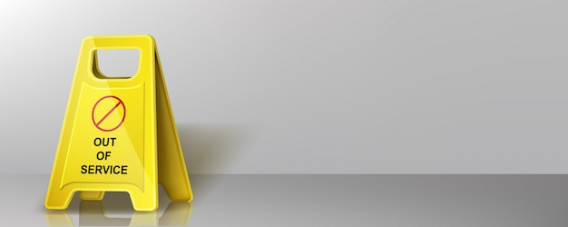 注意黄色の警告サイン、アウトオブサービスバナー