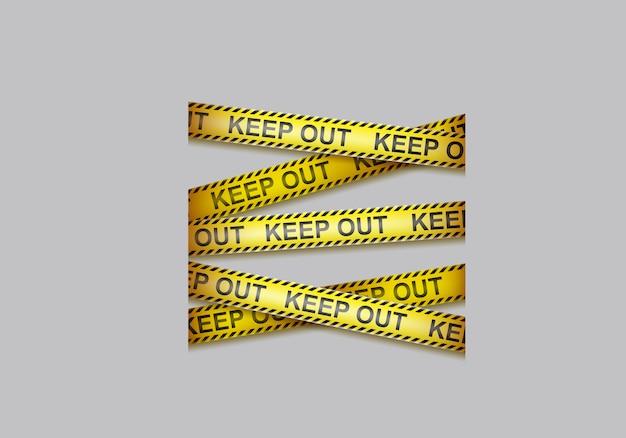 注意テープ、交差する警告リボン