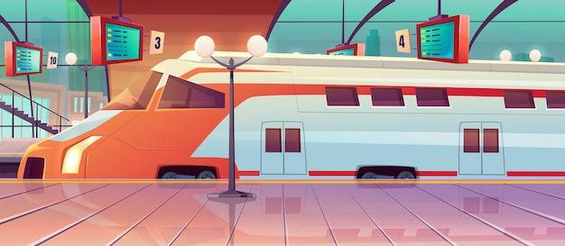 高速列車とプラットフォームのある鉄道駅