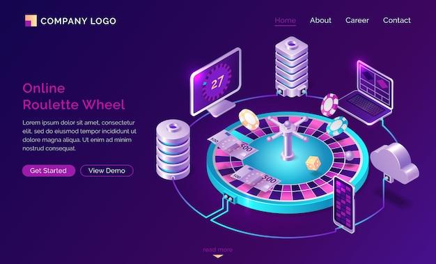 Изометрическая целевая страница интернет-казино