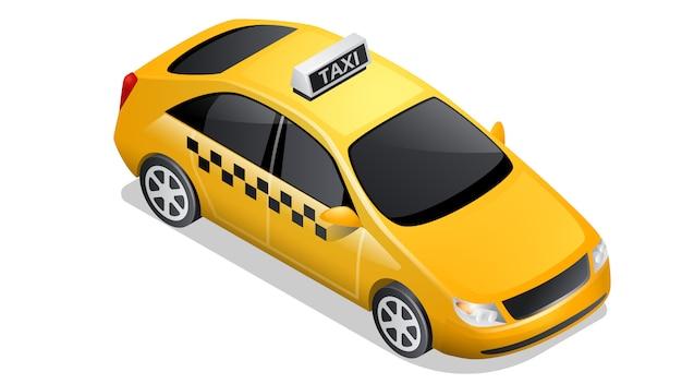 白で隔離等尺性車アイコン市松模様のタクシー