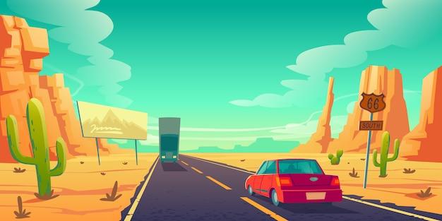 Дорога в пустыне с машинами едет по длинному асфальтовому шоссе