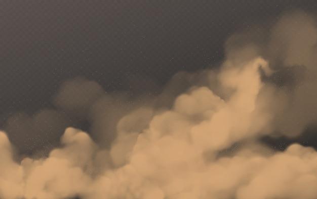 砂漠の砂嵐、透明な茶色のほこりっぽい雲