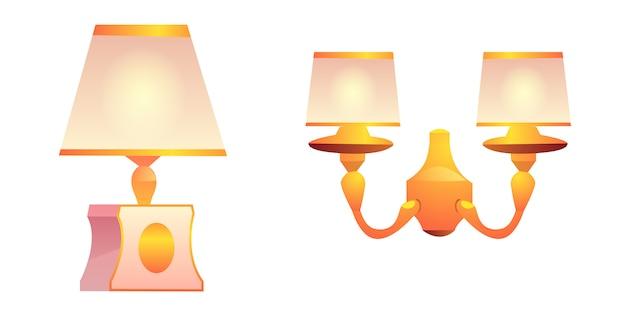 ランプシェード付きベクトルヴィンテージの壁とテーブルランプ