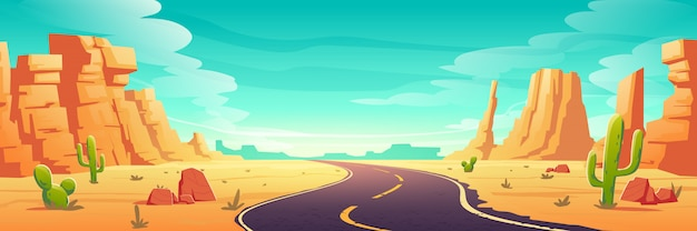 Пустынный ландшафт с дорогой, камнями и кактусами