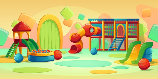 カルーセルとスライドのある子供の遊び場