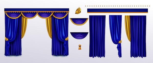 Реалистичный комплект штор, синяя ткань с золотыми галстуками