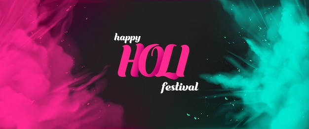 カラフルな塗料で幸せなホーリー祭のグリーティングカード