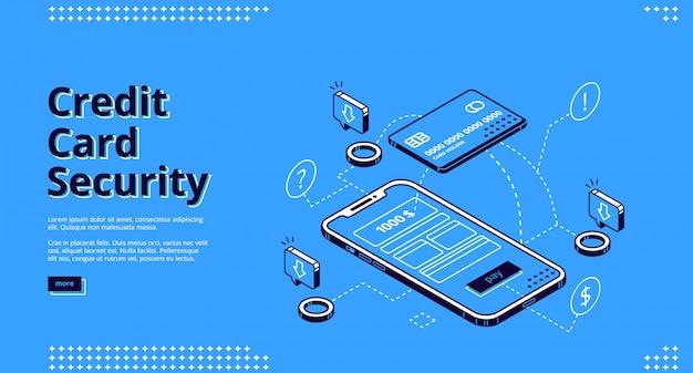 クレジットカードセキュリティのウェブサイトデザインの電話とロボット