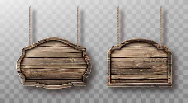 Деревянные доски на веревках установлены. реалистичные вывески