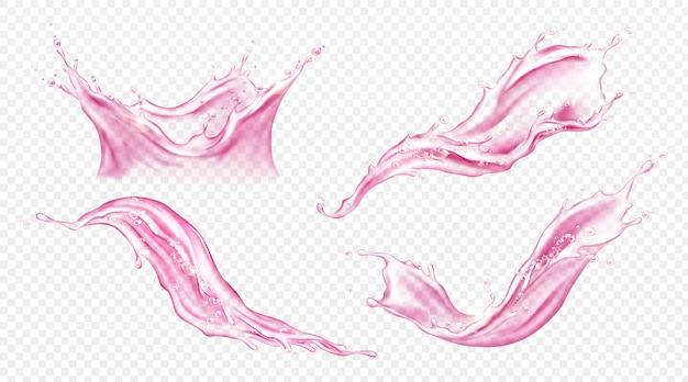 ジュースやピンクの水のベクトル現実的なスプラッシュ