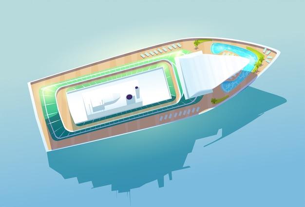 Роскошный круизный лайнер, вид сверху пассажирского судна