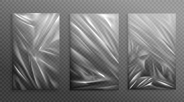 Натянутая целлофановая мятая складчатая текстура