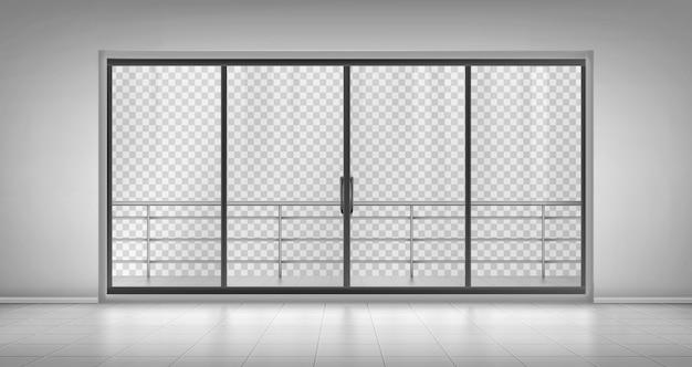 バルコニーの手すりが付いているガラス窓のドア