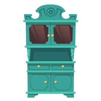 バロック様式のビンテージキッチン食器棚