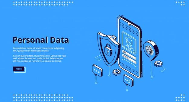Персональные данные изометрической целевой страницы онлайн-доступа