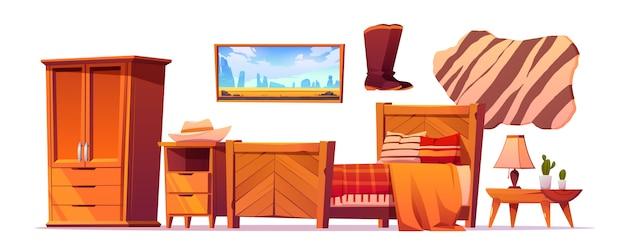 野生の西の寝室のものセット、西洋の素朴なスタイル
