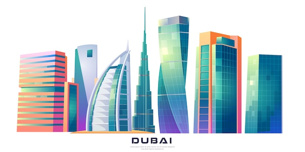 Дубай, оаэ горизонт с всемирно известными зданиями