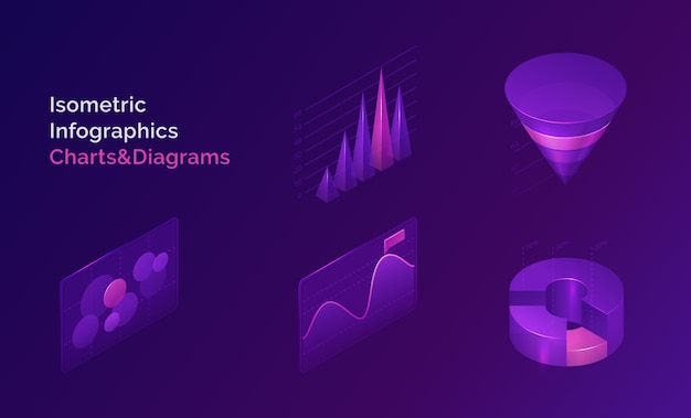 等尺性インフォグラフィックチャートおよび図セット