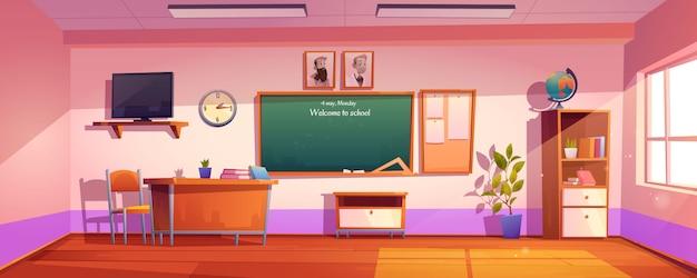 碑文と空の教室学校へようこそ