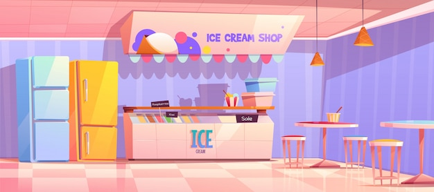 Интерьер магазина мороженого с холодильником и столами