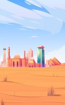 エジプトのランドマーク、カイロ市のスカイラインのモバイル画面