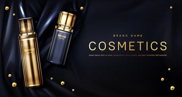 黒い絹の布の背景に香水瓶