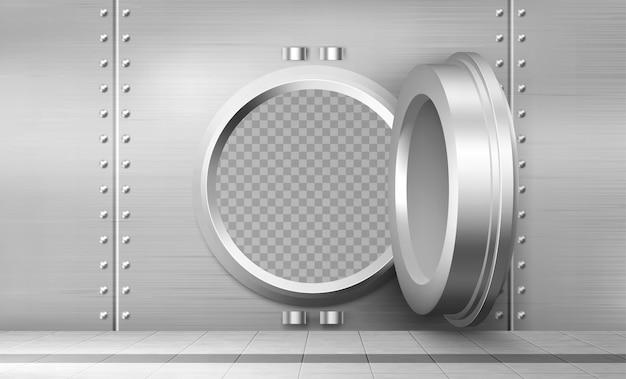 Банковское хранилище вектор с открытой стальной сейфовой дверью