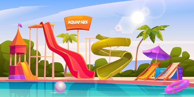 ウォータースライドとスイミングプールのあるアクアパーク