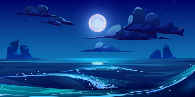 Ночной морской пейзаж с луной, звездами и облаками