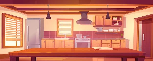 木製の家具と素朴なキッチンの空のインテリア