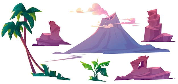 Вулкан с дымом, камнями и пальмами