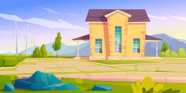 Векторный пейзаж с домом и ветряными турбинами