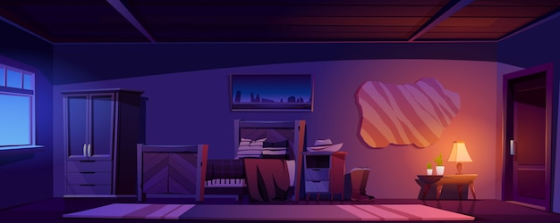 夜の素朴な家のカウボーイの寝室
