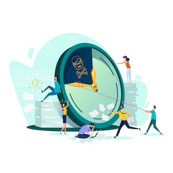 締め切り、時間管理ビジネス概念ベクトル