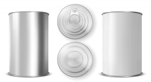 ブリキ缶、リング引き側、上面および底面図