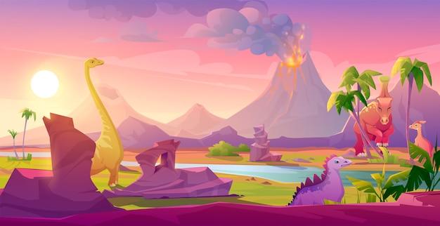 Динозавры у извергающегося вулкана тропический пейзаж