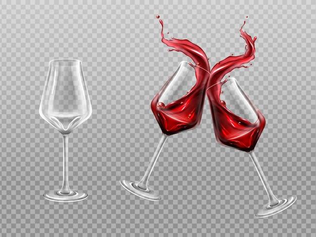 赤ワインのボトルとグラス、アルコールつる飲み物
