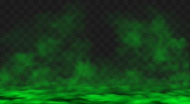 緑のスモッグまたは霧の雲が地面に広がる