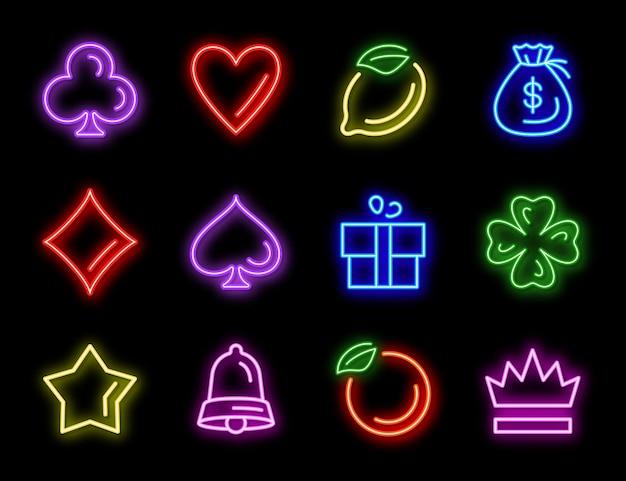 カジノギャンブルのスロットマシンネオンアイコン