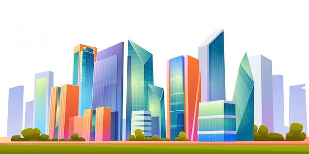 都市の建物のスカイラインのパノラマイラスト