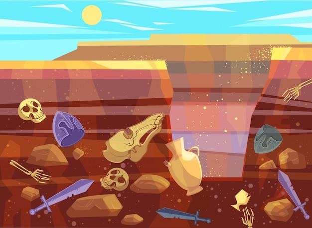 砂漠の風景の考古学的発掘