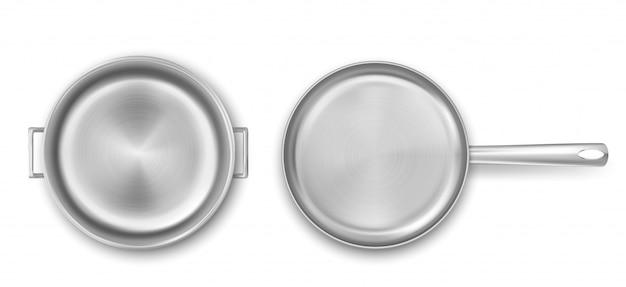 空の金属調理鍋とフライパンのトップビュー