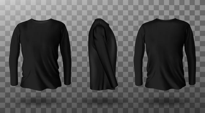 Реалистичный макет черной футболки с длинным рукавом