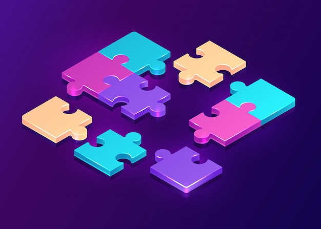 紫色の背景に等尺性パズルのピース