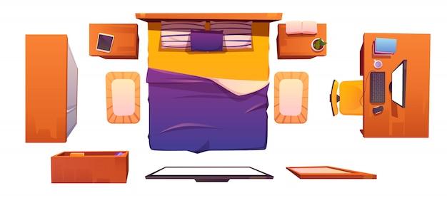 Векторный интерьер спальни установлен вид сверху