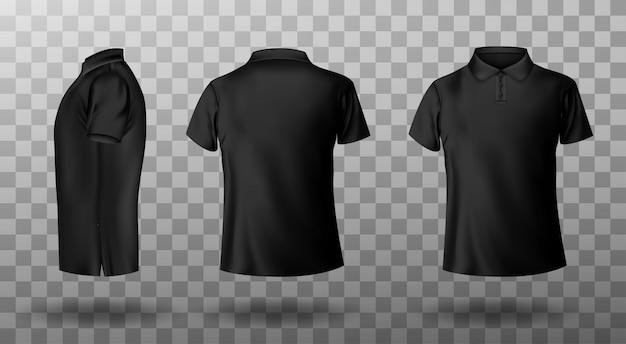 Реалистичный макет мужской черной рубашки поло