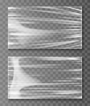 伸ばされたセロハンバナークルクル折り畳まれたテクスチャ
