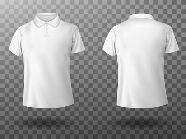 Реалистичный макет мужской белой рубашки поло